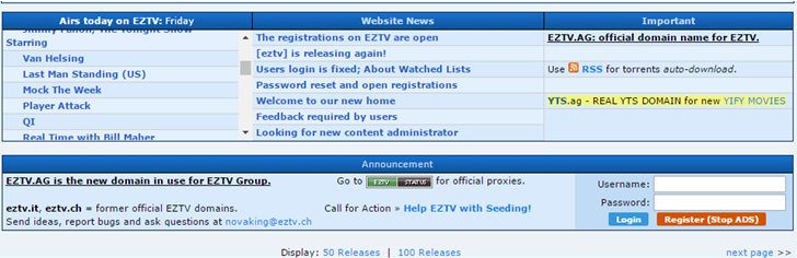 eztv is extratorrent alternative