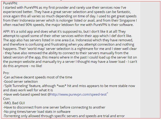 PureVPN Whirlpool Reviews