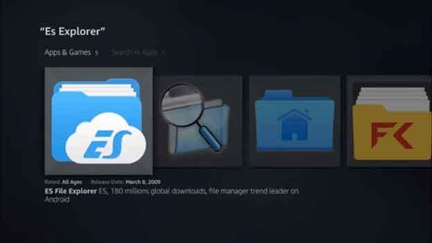 click on ES Explorer