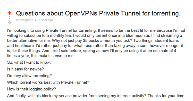 private tunnel reddit