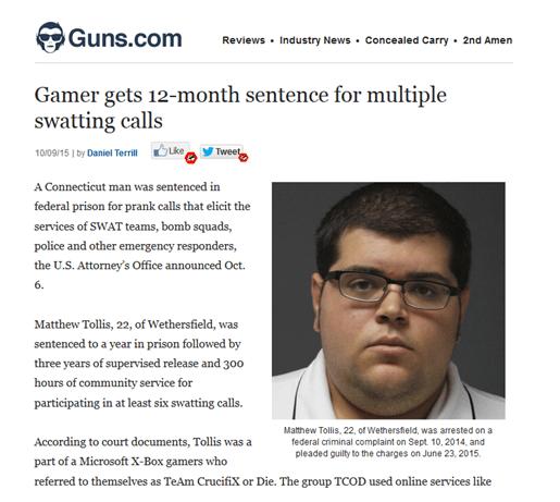 gamer gets 12 month sentence for multiple swatting calls