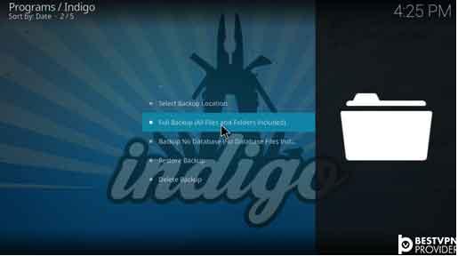 backup kodi krypton using indigo addon