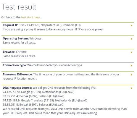 RA4W VPN DNS Leak Test