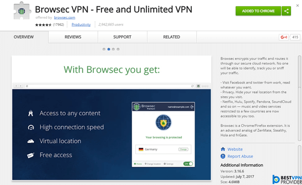 Browsec chrome extension review