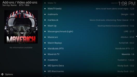 Maverick TV kodi addons