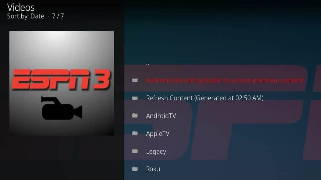 how to watch espn on kodi 17.4
