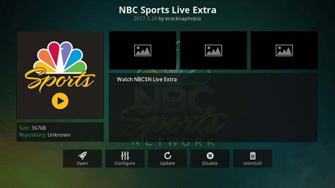nbc sports live kodi addon