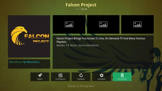 Falcon Project kodi addon