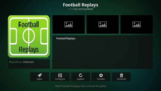 Football Replays kodi addon
