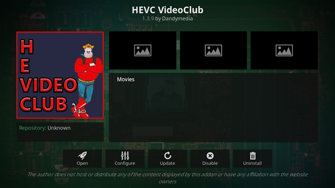 HEVC Video Club kodi addon