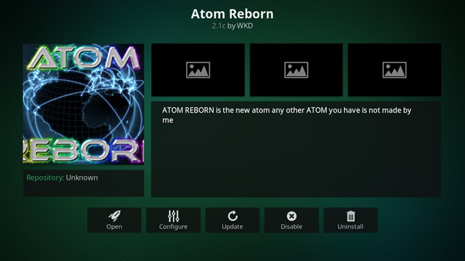 Atom Reborn kodi addon