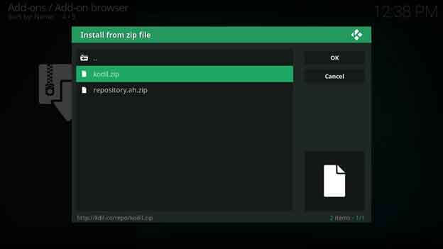 Click on Kodil.zip to install the repository