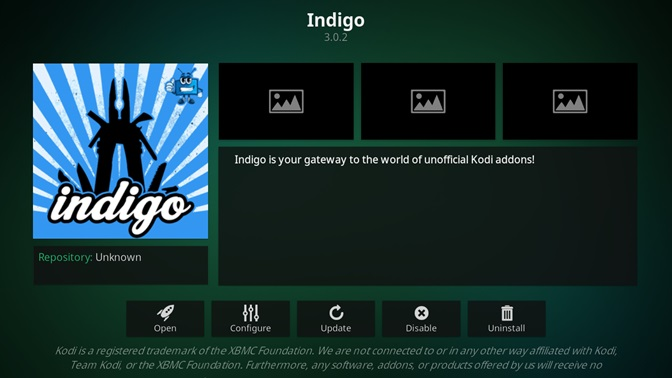 Indigo kodi addon