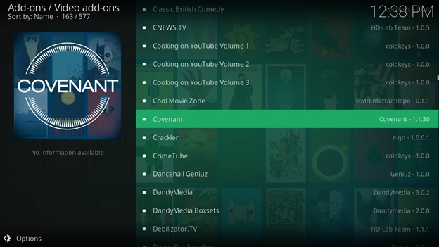 Scroll down and find the Covenant extension