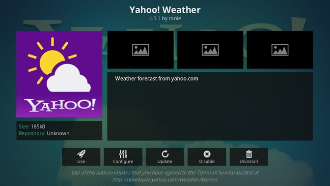 Yahoo! Weather kodi addon