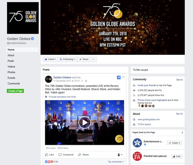 Golden Globes awards Facebook Page