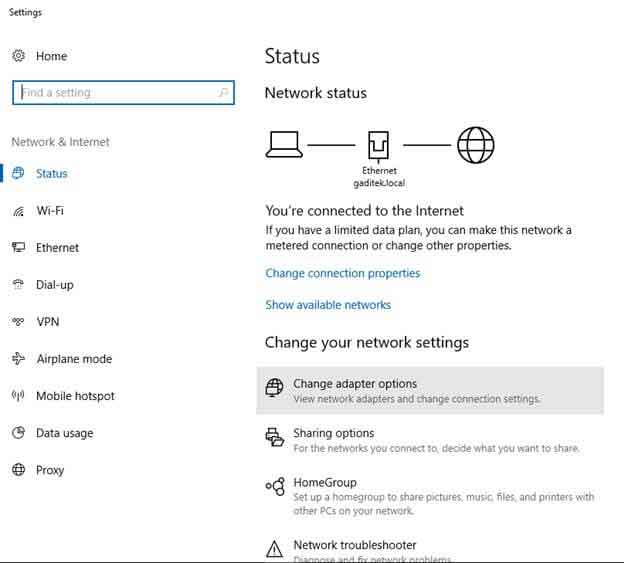 change adapter settings on windows 8 and windows 8.1 vpn