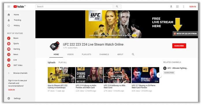 YouTube UFC 222
