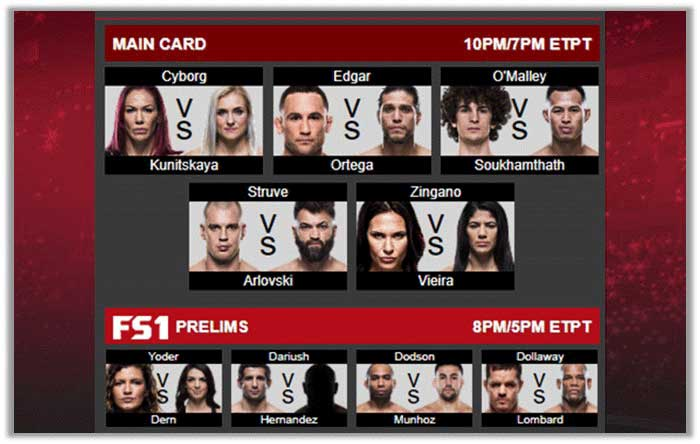 UFC 222 Upcoming Latest Fights Card