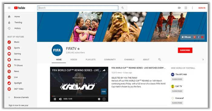 FIFA World Cup 2018 on YouTube Live TV