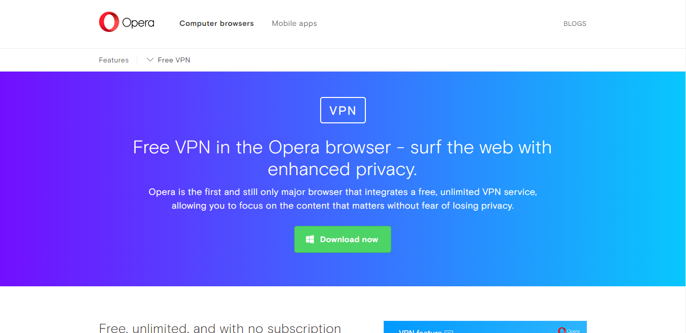 Opera VPN is also worst free for torrenting and p2p file sharing