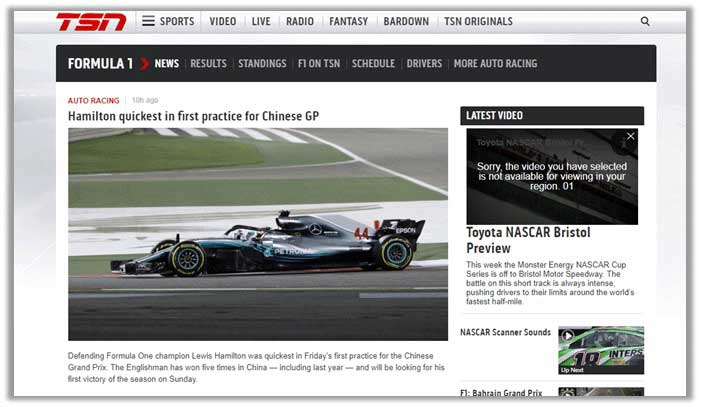 How to Watch Formula 1 in Canada