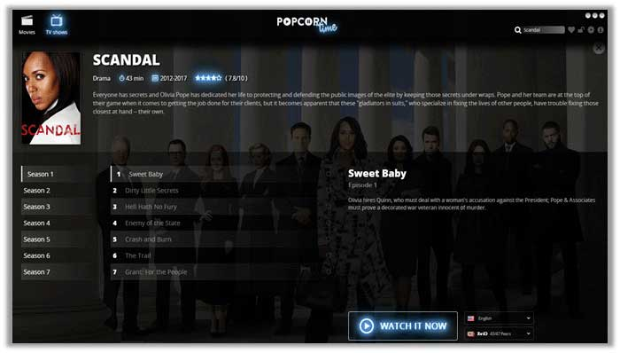 How to Watch Scandal on Popcorn Time