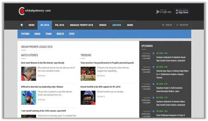 Watch IPL free streams on Cricket Gateway