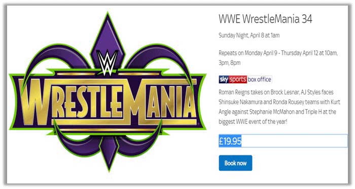 WWE WrestleMania 34 on sky sports