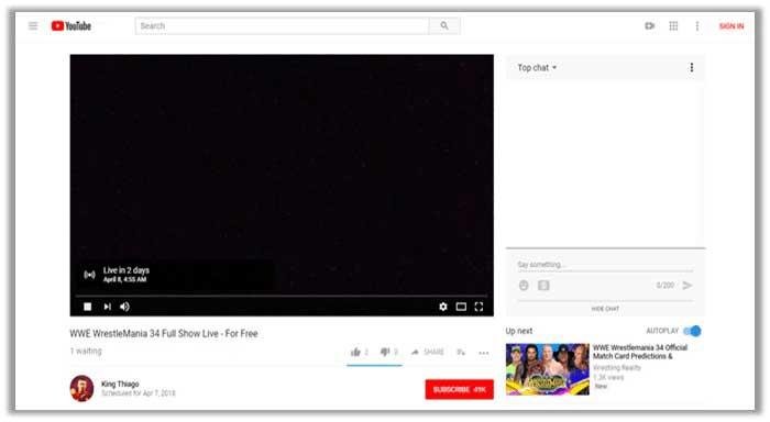 Wrestlemania 34 on youtube