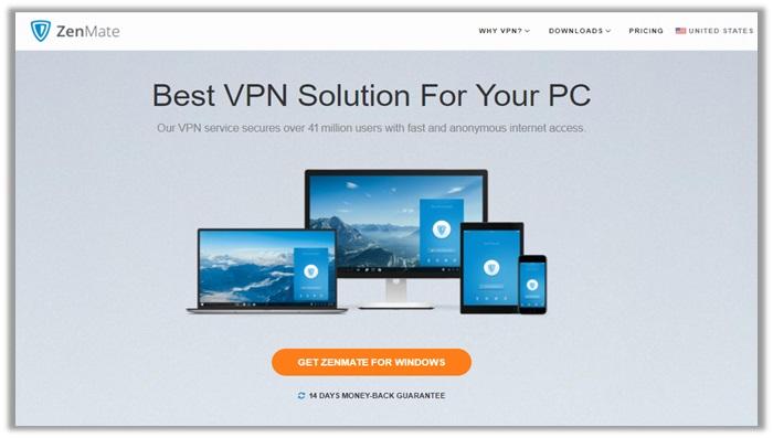 ZenMate Website Screenshot