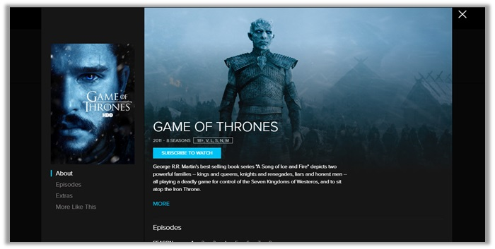 CraveTV for Game of thrones