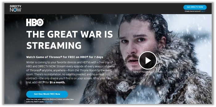 DirecTV Now for Game of Thrones Live Online Streaming