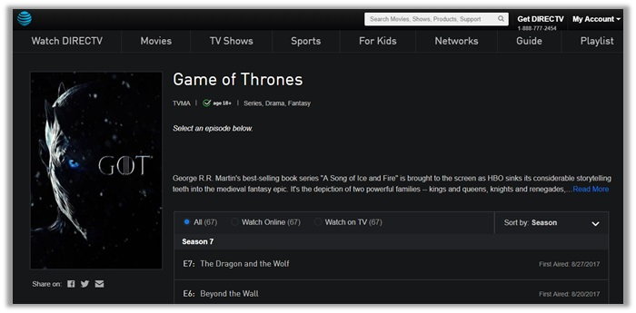 Premium Live Streaming Options for Game of Thrones - Season 1 to 8