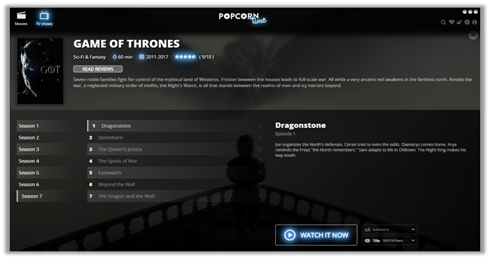 How to Watch Game of Thrones live online on Popcorn Time