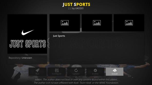 Just Sports kodi addon