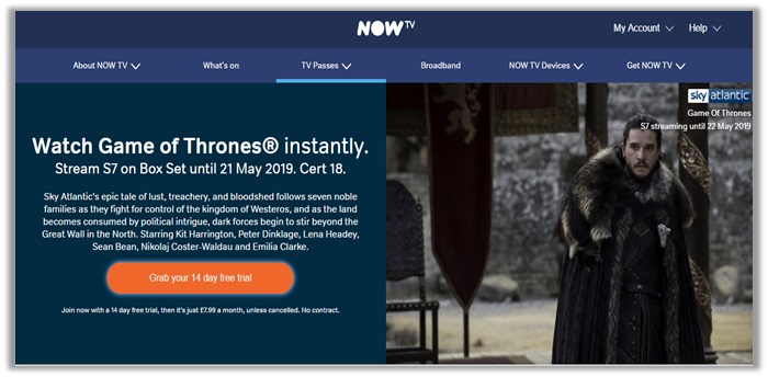 NowTV for Game of thrones