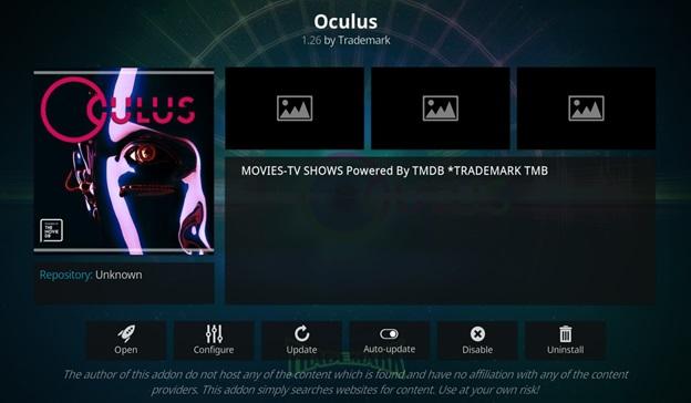 Oculus kodi addon