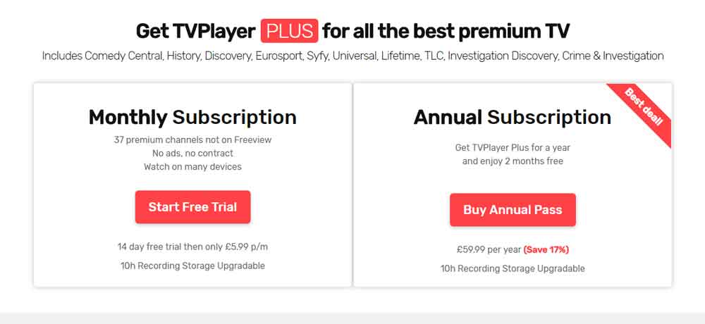 TVPlayer Pricing Plans