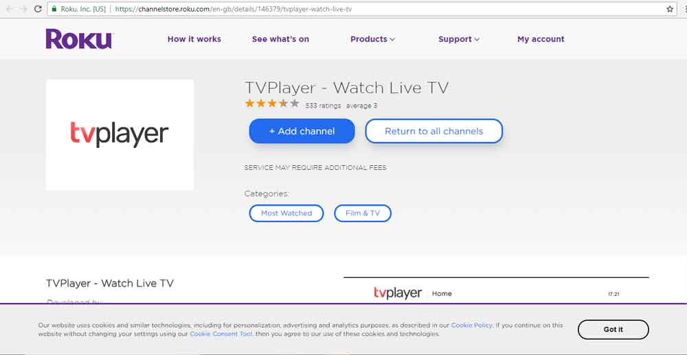 TVPlayer app on Roku