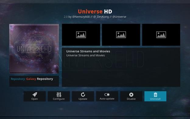 Universe HD kodi addon