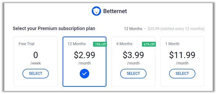Betternet Plans and Price Review
