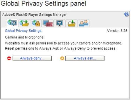 global privacy settings panel