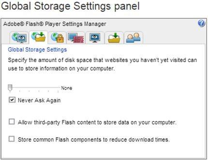 global storage settings panel