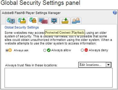 global security settings panel