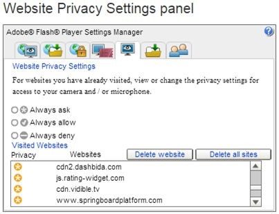 website privacy settings panel