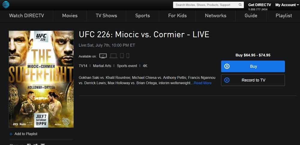 UFC 226 Channels And Official Broadcasters Fight Night List