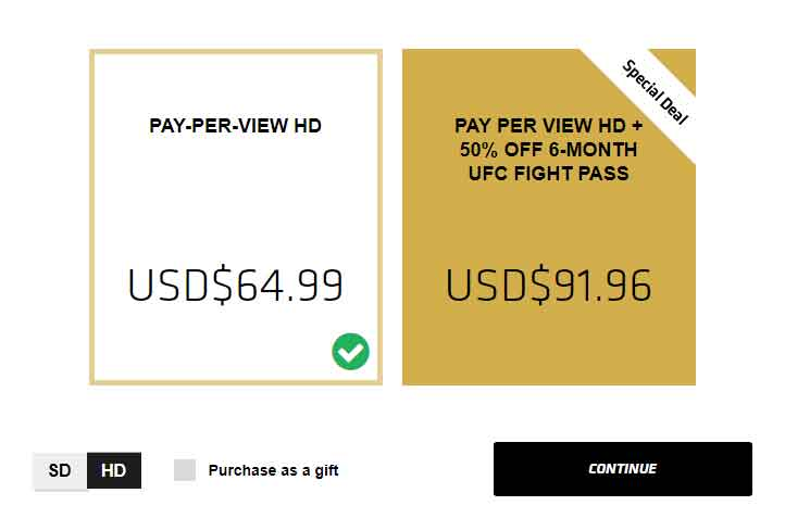 ufc pay per view US price