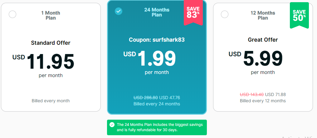 surfshark pricing plan review