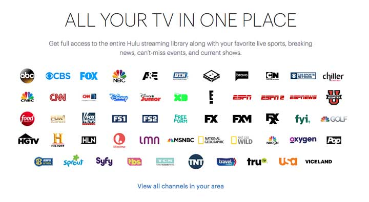 Channels available on Hulu